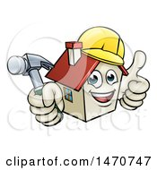 Poster, Art Print Of Cartoon Happy White Home Mascot Character Wearing A Hardhat Holding A Hammer And Giving A Thumb Up