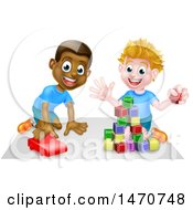 Clipart Of Boys Playing With Blocks And A Toy Car Royalty Free Vector Illustration