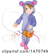 Clipart Of A Girl In A Mouse Halloween Costume Royalty Free Vector Illustration