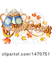 Clipart Of An Oktoberfest Text Design With Leaves And Beer Steins Royalty Free Vector Illustration