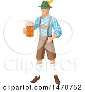 Clipart Of A Happy Oktoberfest Man Holding A Beer Royalty Free Vector Illustration