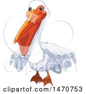 Clipart Of A Cute White Pelican Bird Royalty Free Vector Illustration