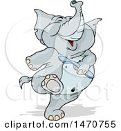 Clipart Of A Happy Elephant Marching With A Spoon In Hand Royalty Free Vector Illustration