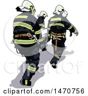 Clipart Of A Paramedics Team Moving A Patient Royalty Free Vector Illustration