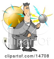 Nicola Tesla Surrounded By Electrical Shocks While Experimenting With The Tesla Coil Clipart Illustration Graphic
