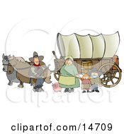 Historical Family Of Pioneers Standing With Their Pig In Front Of Two Horses Pulling A Covered Wagon Along The Oregon Trail Clipart Illustration Graphic