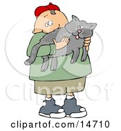 Chubby Little Caucasian Boy In A Red Hat Green T Shirt Tan Shorts Ad Blue Shoes Holding His Gray Pet Kitty Cat Clipart Illustration Graphic