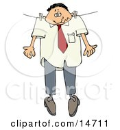 Depressed Caucasian Businessman Hanging Limply And Hung Out To Dry While Pinned To A Clothes Line Clipart Illustration Graphic