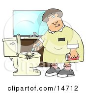 Disgusted Woman Holding A Can Of Cleanser While Scrubbing A Dirty Toilet In A Restroom Clipart Illustration Graphic by djart