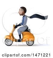 Clipart Of A 3d Young Black Male Super Hero In A Dark Blue Suit On A White Background Royalty Free Illustration