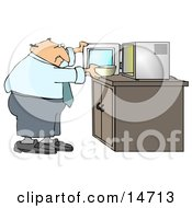 Chubby And Balding Middle Aged Caucasian Businessman Putting A Bowl In A Microwave For Lunch At The Office Clipart Illustration Graphic