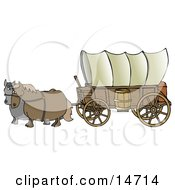 Two Horses Pulling A Big Covered Wagon On The Oregon Trail