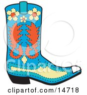 Blue Cowboy Boot With Orange And Yellow Floral Shapes
