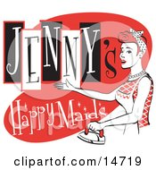 Happy Redhaired Woman In An Apron Ironing Clothes On A Vintage Jennys Happy Maids Advertisement Clipart Illustration by Andy Nortnik