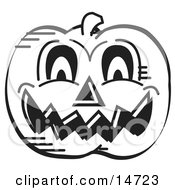 Evil Carved Halloween Pumpkin Black And White Clipart Illustration
