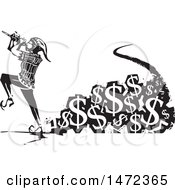 The Pied Piper Marching And Playing A Pipe With A Trail Of Usd Currency Symbols In Black And White Woodcut