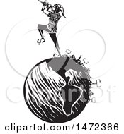 The Pied Piper Marching And Playing A Pipe On A Globe With Protesters In Black And White Woodcut