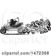 Grim Reaper Driving An Antique Car With A Trail Of USD Symbols Cost Of Death In Black And White Woodcut Style