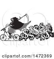 Grim Reaper Riding A Bicycle With A Trail Of USD Symbols Cost Of Death In Black And White Woodcut Style