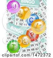 Clipart Of Jackpot Balls Over Bingo Cards Royalty Free Vector Illustration