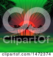 Neon Sunset Of Orange And Green And Silhouetted Palm Trees
