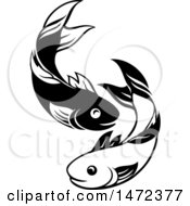 Clipart Of A Black And White Pair Of Fish Royalty Free Vector Illustration