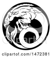 Clipart Of A Zodiac Horoscope Astrology Capricorn Sea Goat Circle Design In Black And White Royalty Free Vector Illustration