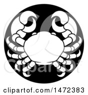 Clipart Of A Zodiac Horoscope Astrology Cancer Crab Circle Design In Black And White Royalty Free Vector Illustration