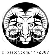 Clipart Of A Zodiac Horoscope Astrology Aries Ram Circle Design In Black And White Royalty Free Vector Illustration
