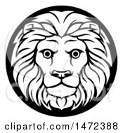 Poster, Art Print Of Zodiac Horoscope Astrology Leo Lion Circle Design In Black And White
