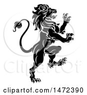 Clipart Of A Black And White Rampant Lion Royalty Free Vector Illustration