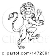 Clipart Of A Black And White Lineart Rampant Lion Royalty Free Vector Illustration