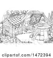Clipart Of A Scne Of The Wolf And The Three Pigs In Their Brick Wood And Straw Houses Black And White Royalty Free Vector Illustration by AtStockIllustration