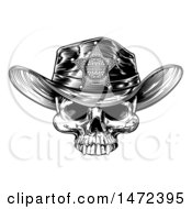 Clipart Of A Cowboy Skull Wearing A Sheriff Hat Black And White Vintage Engraved Royalty Free Vector Illustration by AtStockIllustration