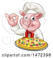 Chef Pig Holding A Pizza And Gesturing Okay