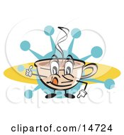 Happy Coffee Cup Character With Steamy Hot Coffee by Andy Nortnik