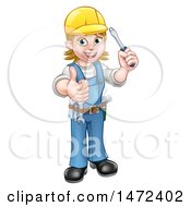 Poster, Art Print Of Full Length White Female Electrician Holding A Screwdriver And Giving A Thumb Up