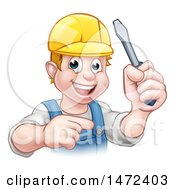 Clipart Of A White Male Electrician Holding Up A Screwdriver And Pointing Royalty Free Vector Illustration by AtStockIllustration