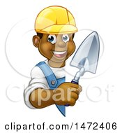 Clipart Of A Black Male Mason Worker Holding A Trowel Around A Sign Royalty Free Vector Illustration by AtStockIllustration
