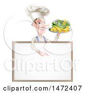 White Male Chef With A Curling Mustache Holding A Fish And Chips On A Tray And Pointing Down Over A Menu