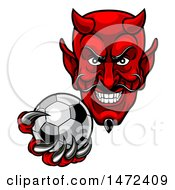 Clipart Of A Grinning Evil Red Devil Holding Out A Soccer Ball In A Clawed Hand Royalty Free Vector Illustration by AtStockIllustration