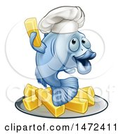 Clipart Of A Happy Blue Cod Fish Chef Holding Up A Fry Over Chips Royalty Free Vector Illustration by AtStockIllustration