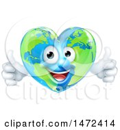 Poster, Art Print Of Happy Earth Globe In The Shape Of A Heart Character Giving Two Thumbs Up