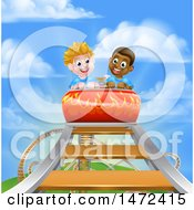 Clipart Of Boys At The Top Of A Roller Coaster Ride Against A Blue Sky With Clouds Royalty Free Vector Illustration by AtStockIllustration
