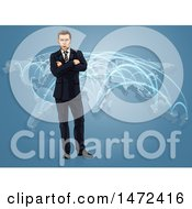 Poster, Art Print Of White Business Man Standing With Folded Arms Over A World Map With Connections