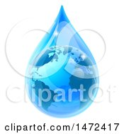 Clipart Of A 3d Earth In A Blue Water Droplet Royalty Free Vector Illustration by AtStockIllustration