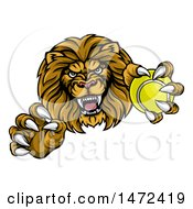 Clipart Of A Tough Clawed Male Lion Monster Mascot Holding A Tennis Ball Royalty Free Vector Illustration