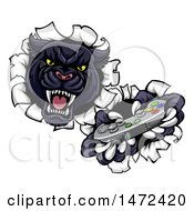Clipart Of A Vicious Black Panther Breaking Through A Wall With A Video Game Controller Royalty Free Vector Illustration by AtStockIllustration