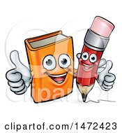 Clipart Of A Red Pencil And Orange Book Giving Thumbs Up Royalty Free Vector Illustration