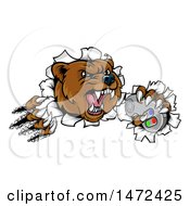 Clipart Of A Mad Grizzly Bear Mascot Breaking Through A Wall And Holding A Video Game Controller Royalty Free Vector Illustration by AtStockIllustration